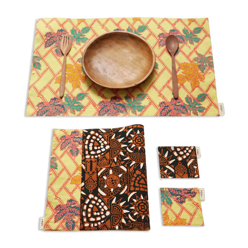 Placemats & Coasters Set (2 Sets) - Yellow x Brown