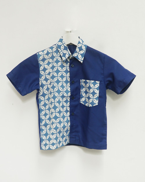 Kids Batik Shirt - Kawung White x Blue