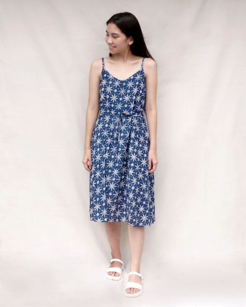 Camisole Dress - Blooming Star on Blue
