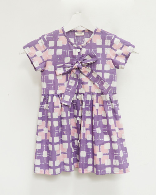 Kids Buttoned Dress - Purple x White