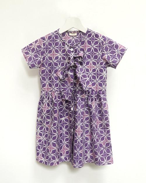 Kids Buttoned Dress - Purple x Purple