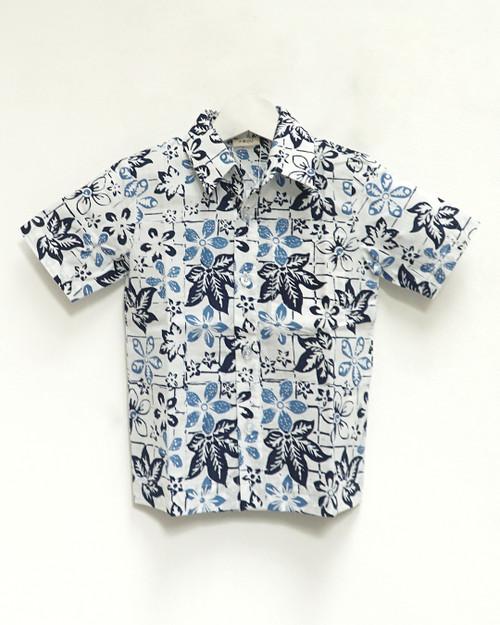 Kids Batik Shirt - White x Blue Flower