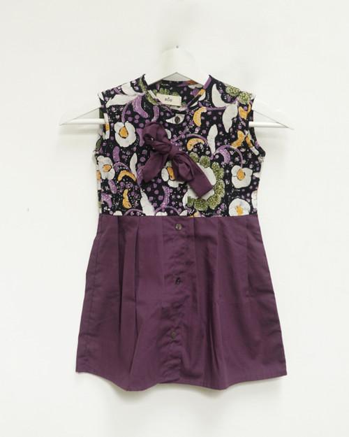 Kids Buttoned Dress - Batik x Purple