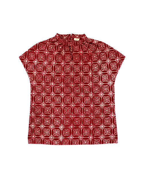 High Neck Blouse - Red Kawung