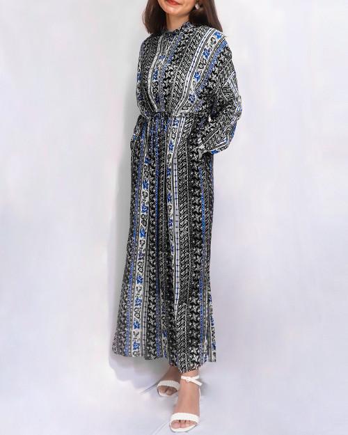 Stand Collar Long Sleeve Dress - Blue x Black