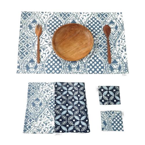 Placemats & Coasters Set (2 Sets) - Blue Kawung x Blue Sido Mukti