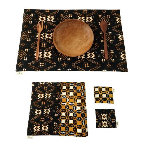 Placemats & Coasters Set (2 Sets) - Brown Borneo x Brown Coffee