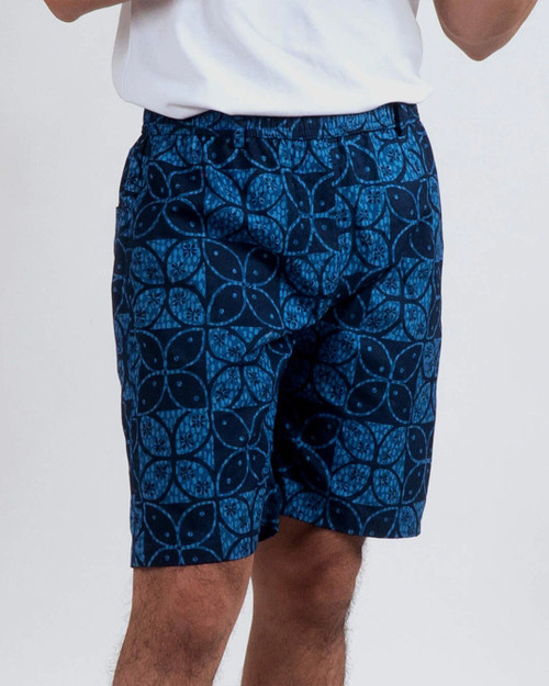 Half Pants - Butterfly Kawung on Blue