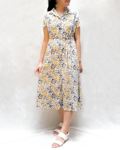 Open Collar Dress - Yellow Daisies on White