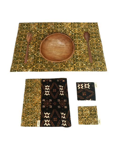 Placemats & Coasters Set (2 Sets) - Green x Brown