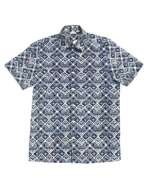 Standard Short Sleeves Shirt -  Square Kawung on Navy