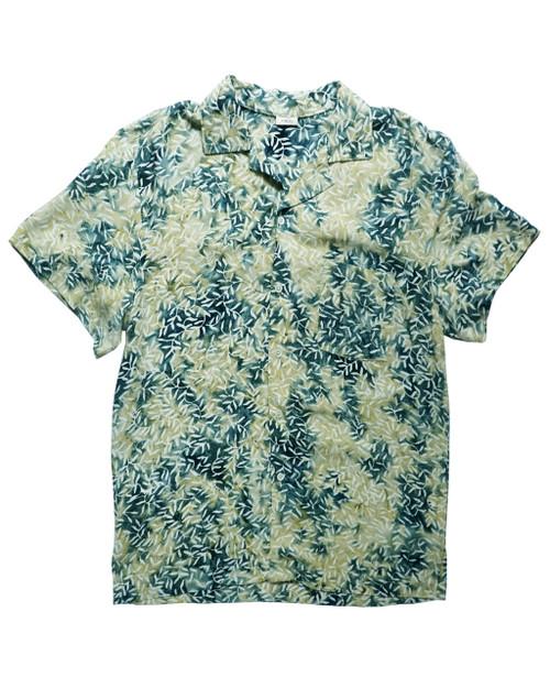 Women Aloha Shirt - Green x White