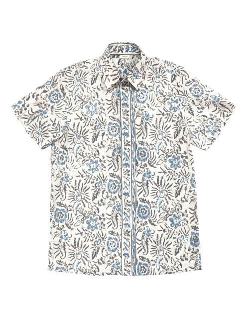 Standard Short Sleeves Shirt - Blue Flower on Broken White