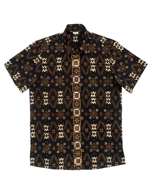 Standard Short Sleeves Shirt - Sumatran Motifs in Wooden Brown