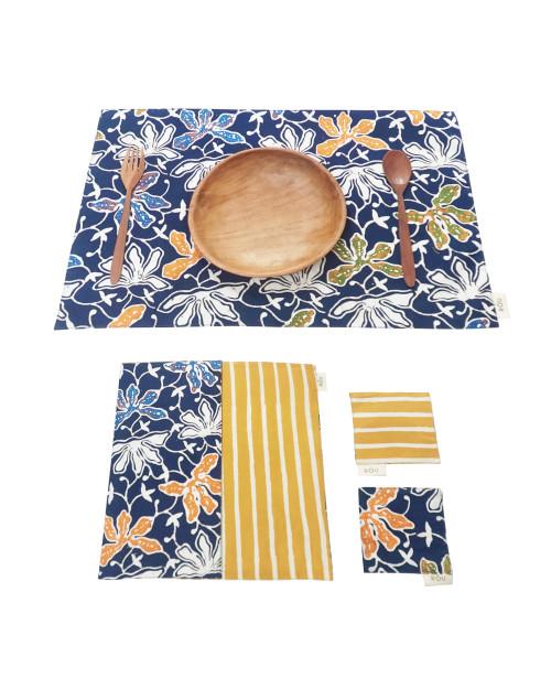 Placemats & Coasters Set (2 Sets) - Blue Lotus x Yellow