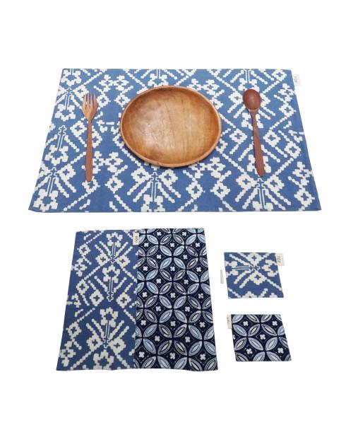 Placemats & Coasters Set (2 Sets) - Blue Kawung x Blue Rattan