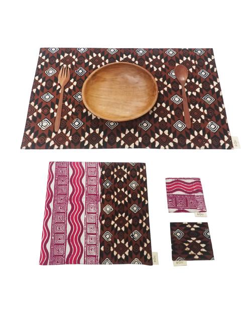 Placemats & Coasters Set (2 Sets) - Diamond Brown x Pink Wave