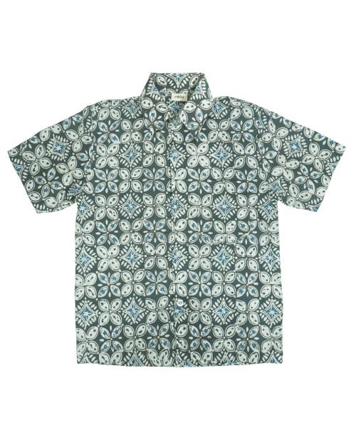 Kids Batik Shirt - Gray Kawung