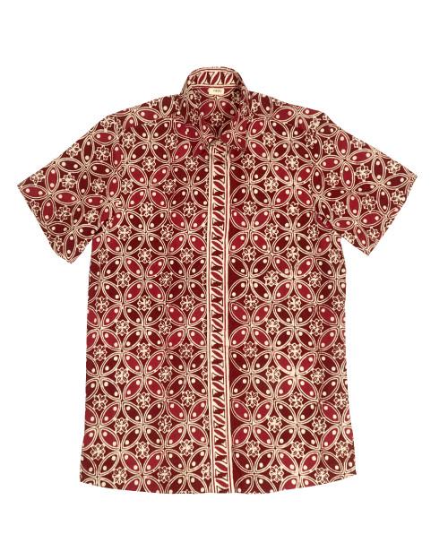 Standard Short Sleeves Shirt - White Kawung on Red
