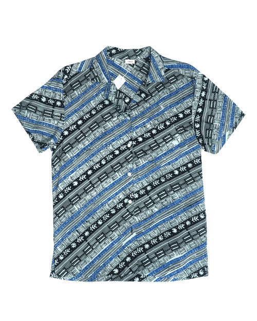 Women Open Collar Shirt - Blue x Black