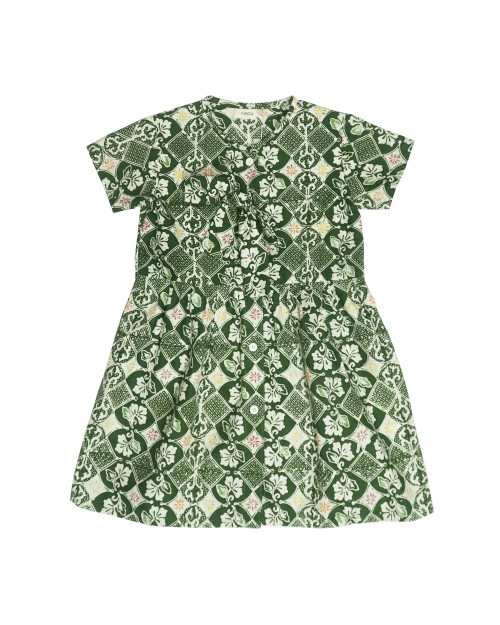 Kids Buttoned Dress - Green Stroke of Luck
