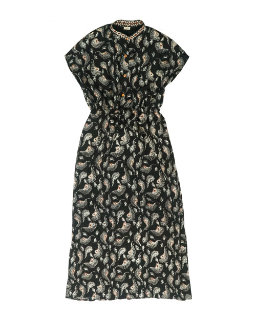 Stand Collar No Sleeve Dress - Black x Yellow Feather
