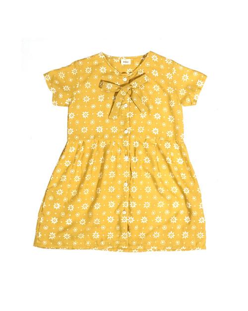 Kids Buttoned Dress - Truntum Mustard