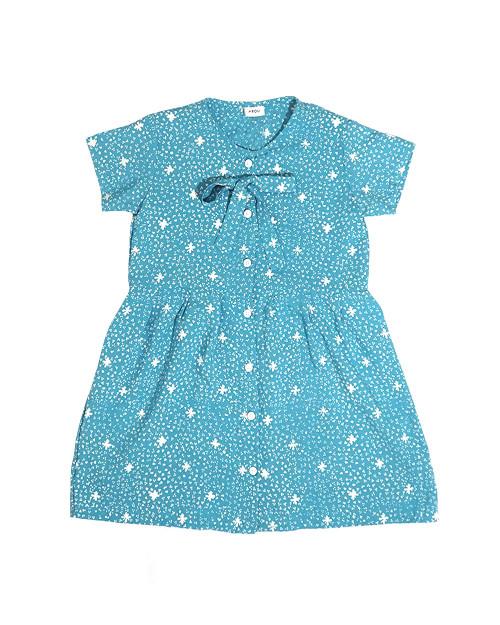 Kids Buttoned Dress - Sky on Blue