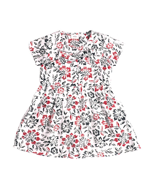 Kids Buttoned Dress - Ruby Flower on White