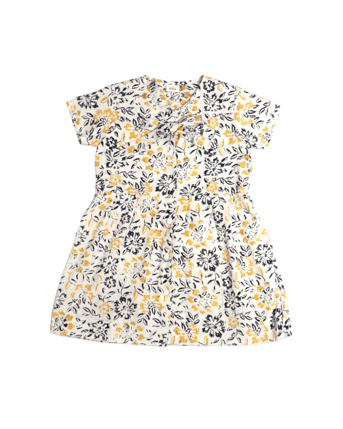 Kids Buttoned Dress - Yellow Daisies on White
