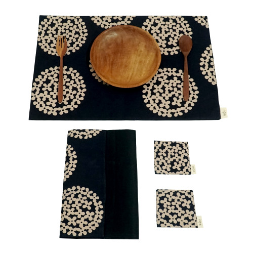 Placemats & Coasters Set (2 Sets) - Ajisai on Navy x Plain Black