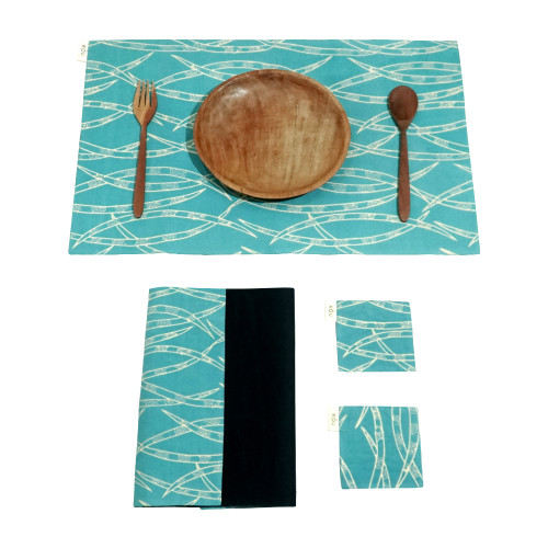 Placemats & Coasters Set (2 Sets) - Forest Bamboo on Turquoise x Plain Black