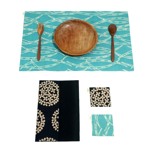 Placemats & Coasters Set (2 Sets) - Forest Bamboo on Turquoise x Ajisai on Navy