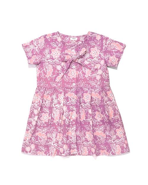 Kids Buttoned Dress - Pink Begonia