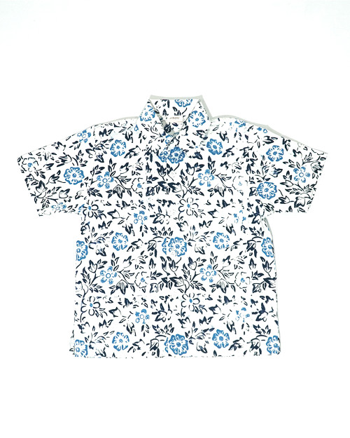 Kids Batik Shirt - Flowery Blue on White