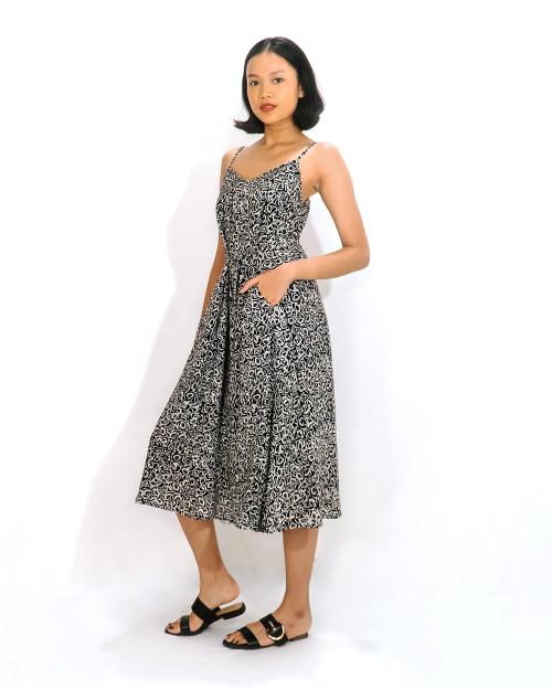 Camisole Dress - Flower Buds in Monochrome