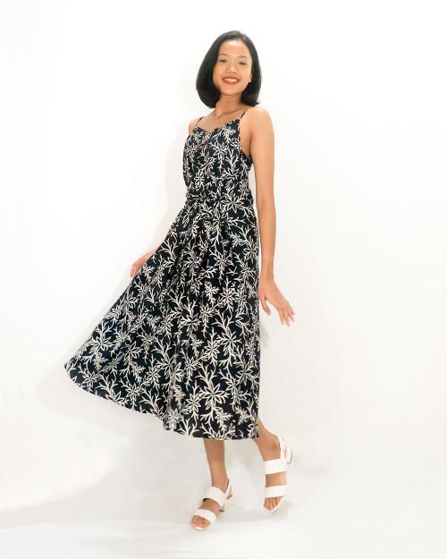 Camisole Dress Cotton - Summer Bloom on Black