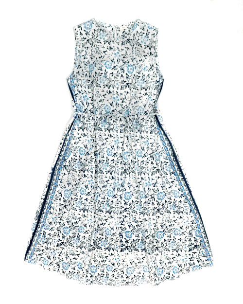 No Sleeve Flare Relax Dress - Flowery Blue on White