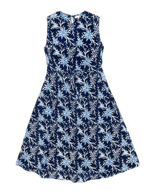 No Sleeve Flare Relax Dress -  Summer Blooms on Navy