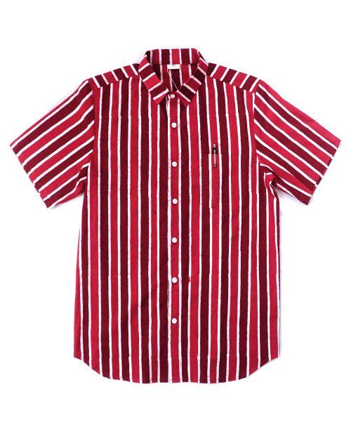 Casual Short Sleeves Shirt - Red x White Stripe