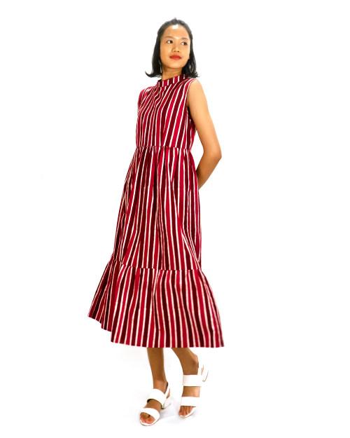 Stand Collar Gather Dress - Red x White Stripe