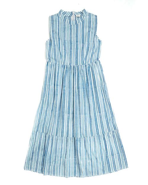 Stand Collar Gather Dress - Blue x White Stripe