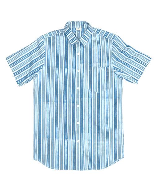 Casual Short Sleeves Shirt - Blue x White Stripe
