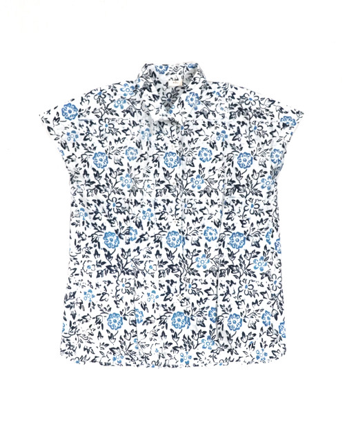 French Sleeve Blouse - Flowery Blue on White