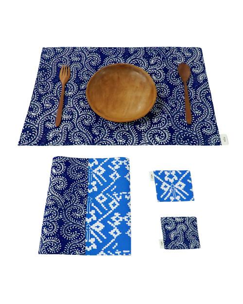Placemats & Coasters Set (2 Sets) - Navy Sulur x Sky Blue Rattan