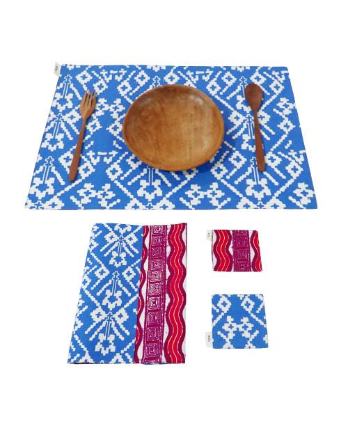 Placemats & Coasters Set (2 Sets) - Pink Wave x Sky Blue Rattan