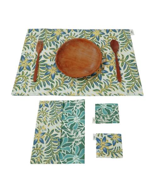 Placemats & Coasters Set (2 Sets) - Green Cempaka x Yellow Blossom