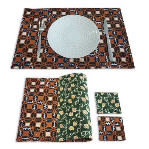 Placemats & Coasters Set (2 Sets) - Brown Coffee x Green Ginkgo