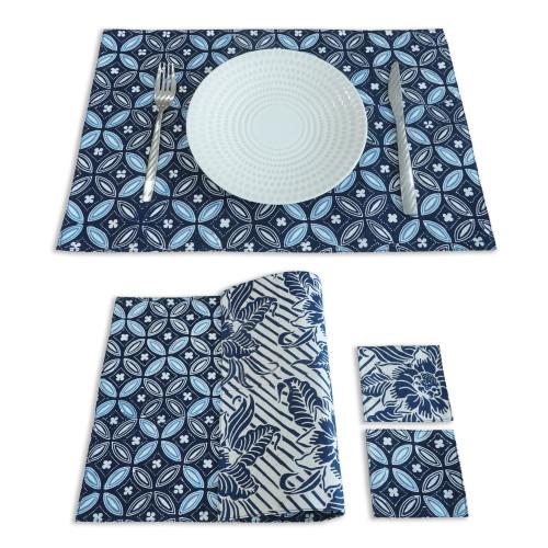 Placemats & Coasters Set (2 Sets) - Blue Kawung x Floral