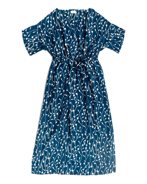 Home Dress - Flower Buds on Navy